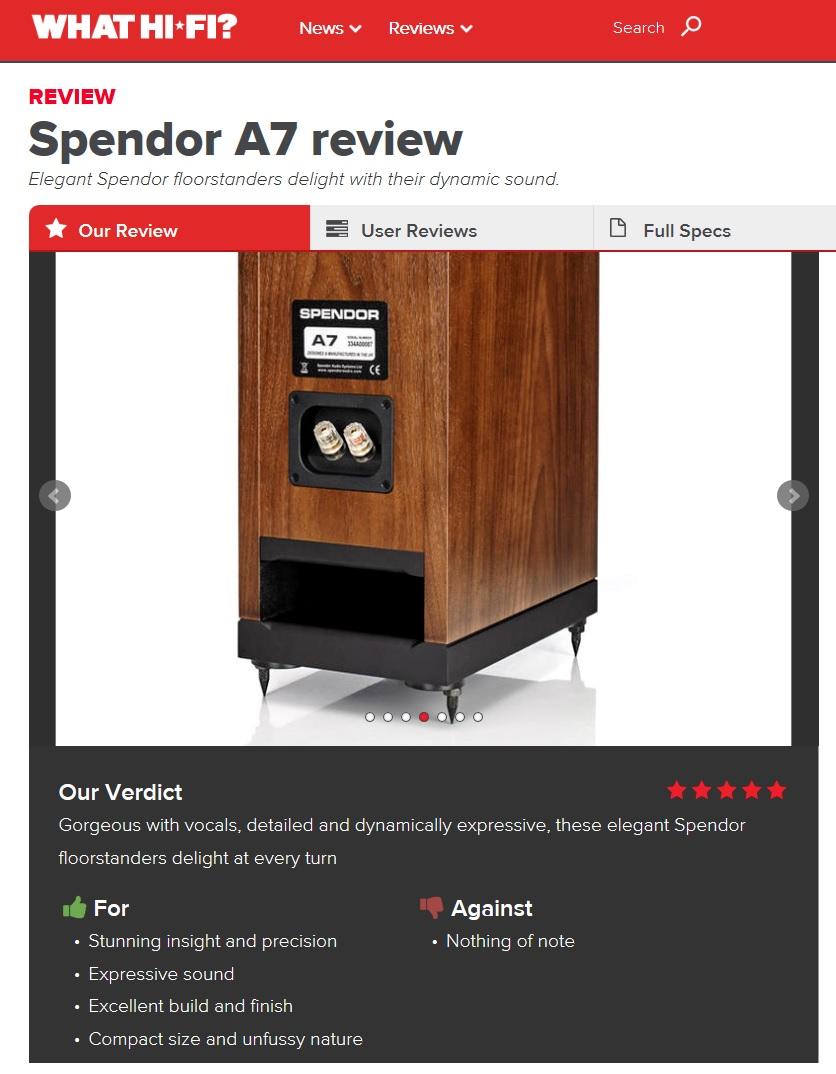 Spendor A7s Win What Hi-Fi? Five Star Award