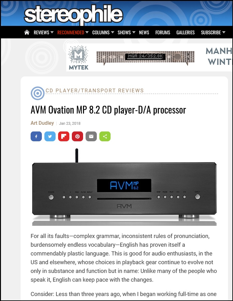 Stereophile AVM MP 8.2 Review