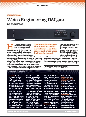 Stereophile Review Weiss Engineering DAC502